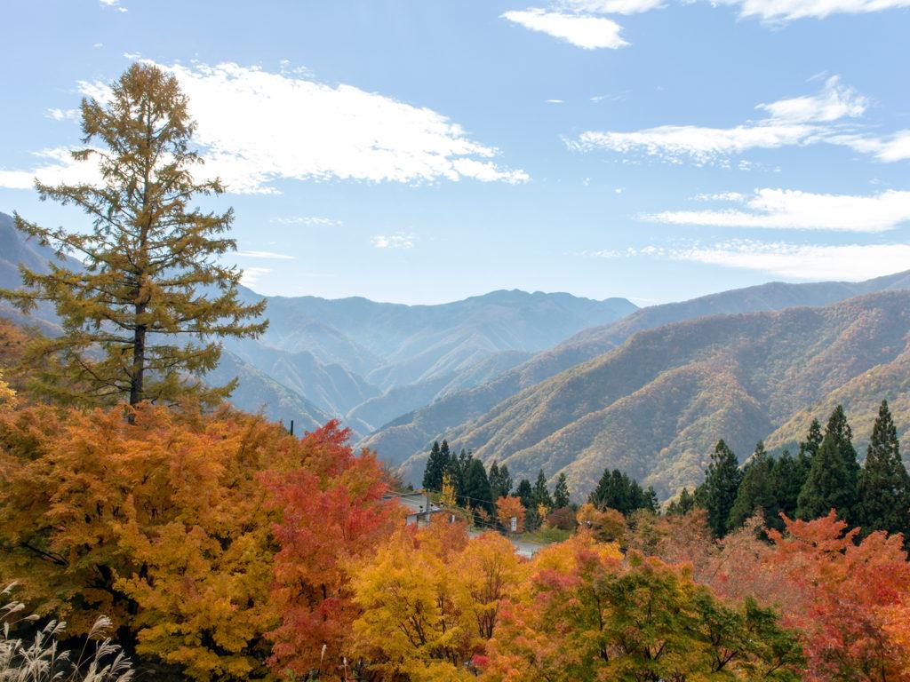 まさに絶景!もみじ越しに遠くまで山々を見渡せる - -秩父市:三峰神社- -