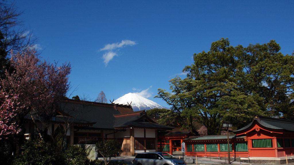 富士山本宮浅間大社の本殿の向こうにそびえる富士山 - -富士宮市:富士山本宮浅間大社- -