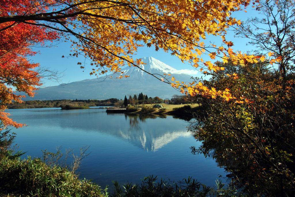 紅葉と逆さ富士 - -富士宮市:田貫湖- -