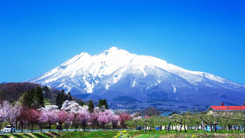 農村風景の向こうに見える美しい津軽富士 - -弘前市:岩木山- -