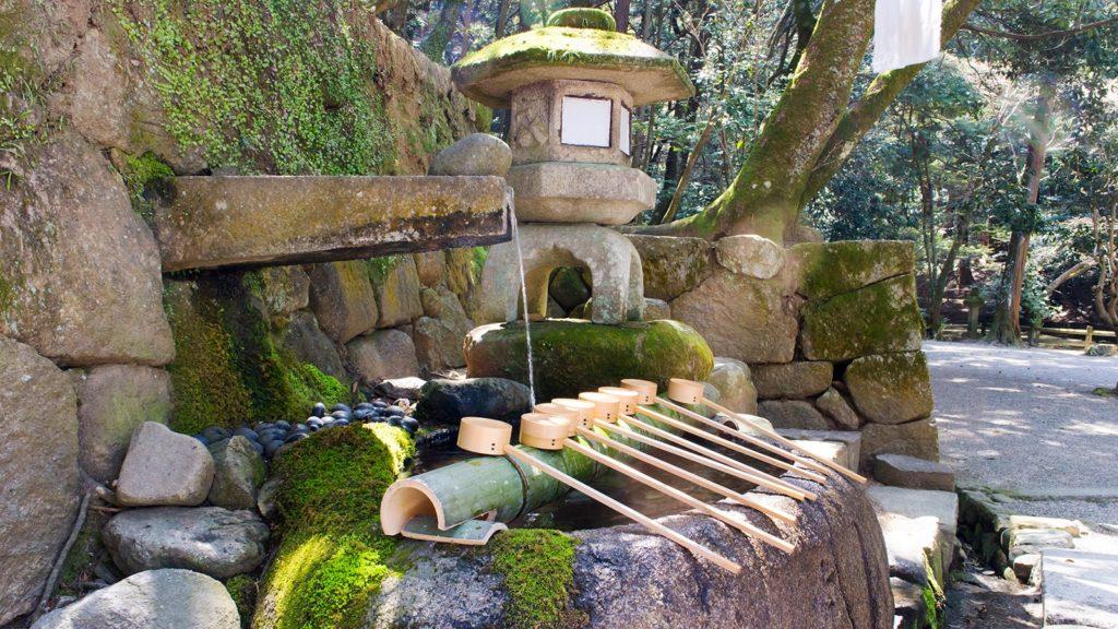 そこにあると知らなければ通り過ぎがちな苔の緑も美しい手水鉢:石上神宮  - -奈良県天理市にある観光、撮影スポット- -