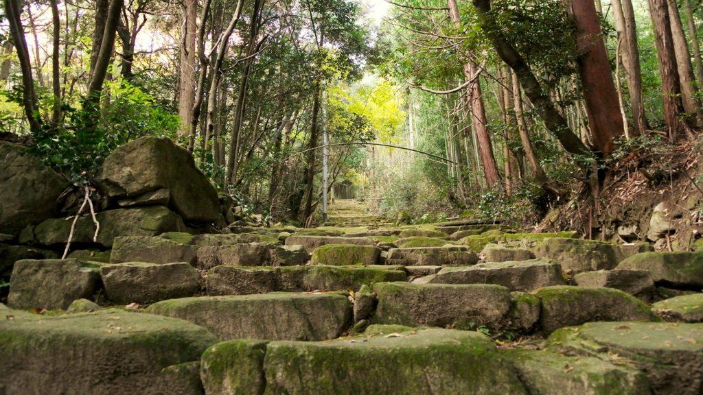 2000段あると言われる長い石段。途中には聖徳太子が腰掛けた石も残る。 - -滋賀県東近江市にある観光、撮影スポット- -