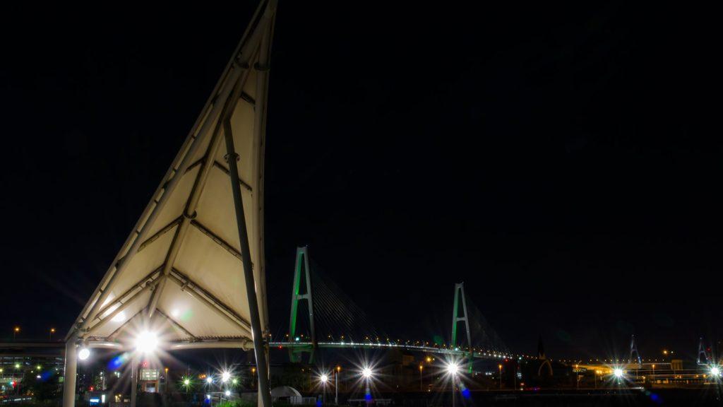 金城埠頭地区緑地から眺める名港トリトンの夜景 - -愛知県名古屋市の観光、撮影スポット- -